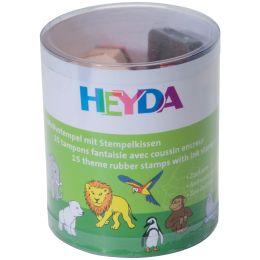 HEYDA Motivstempel-Set Zootiere, Klarsicht-Runddose