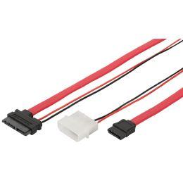 DIGITUS Serial ATA Anschlusskabel, L-Typ + Strom, Slimline