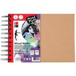 Marabu Spiralbuch Mixed Media, DIN A4, 300 g/qm, 32 Blatt
