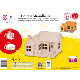 mara by Marabu 3D Puzzle Strandhaus, 27 Holzteile