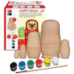 Marabu Matryoshka-Set HAPPY DOLLS, 5-teilig, Holz