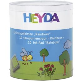 HEYDA Stempelkissen-Set Rainbow, Klarsicht-Runddose