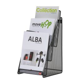 ALBA Tisch-Display MESHPREZA5, A5 hoch, schwarz, 3 Fächer