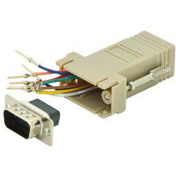 DIGITUS RS 232 Adapter, DB9 Stecker - RJ45 Kupplung, beige