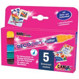 KREUL Acrylmarker Hobby Line Deco Pen Glitter, 5er-Set