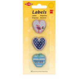KLEIBER Stoff-Labels Herzform, 25 x 25 mm
