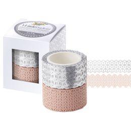 folia Deko-Bordüre Washi-Dekor, rosé / silber, 2er Set