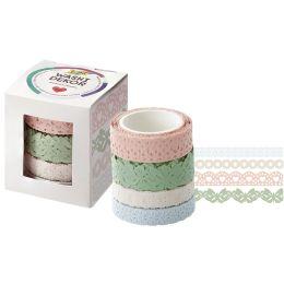 folia Deko-Bordüre Washi-Dekor Pastell, 4er Set