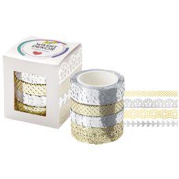 folia Deko-Bordüre Washi-Dekor Hotfoil silber & gold, 4er