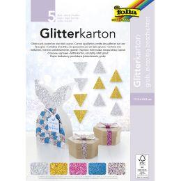 folia Glitterkarton GROB, 174 x 245 mm, 300 g/qm