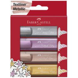 FABER-CASTELL Textmarker TEXTLINER 1546 Metallic, 4er Etui