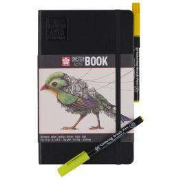 SAKURA Skizzenbuch/Notizbuch, 90 x 140 mm, schwarz/cremeweiß