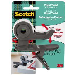 Scotch Handabroller Clip & Twist, dunkelgrau, bestückt