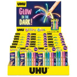 UHU Glitzerkleber Glitter Glue GLOW IN THE DARK, Display