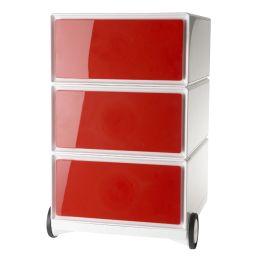 PAPERFLOW Rollcontainer easyBox, 3 Schübe, weiß / rot