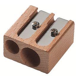 M+R Doppel-Spitzer, aus Holz, Blockform