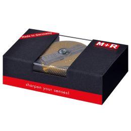 M+R Doppel-Spitzer, aus Messing, rund, in Geschenkverpackung