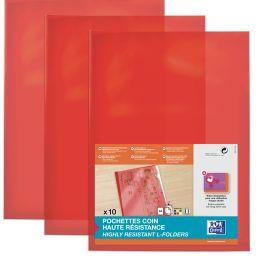 ELBA Sichthüllen, transparent, DIN A4, aus PVC, rot