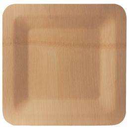 PAPSTAR Bambus-Teller pure, eckig, 230 x 230 mm, 10er