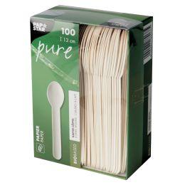 PAPSTAR Papier-Kaffeelöffel pure, Länge: 130 mm, weiß