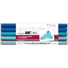 Tombow Marker ABT PRO, alkoholbasiert, 5er Set Blue Colors