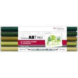 Tombow Marker ABT PRO, alkoholbasiert, 5er Set Green Colors