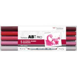 Tombow Marker ABT PRO, alkoholbasiert, 5er Set Pink Colors