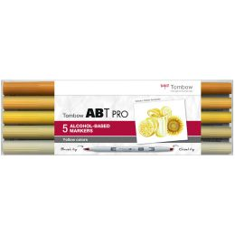 Tombow Marker ABT PRO, alkoholbasiert, 5er Set Yellow Colors