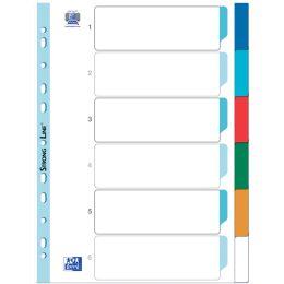 ELBA Kunststoff-Register, blanko, farbig, DIN A4, 6-teilig