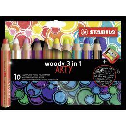 STABILO Multitalentstift woody 3 in 1, 10er Karton-Etui ARTY