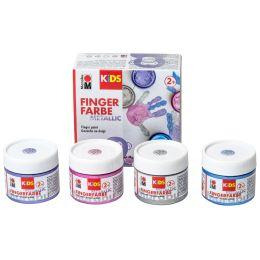 Marabu KiDS Fingerfarbe Metallic, 100 ml, 4er Set