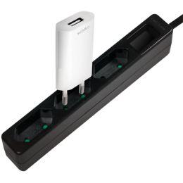 LogiLink Euro-Steckdosenleiste, 3-fach, ohne Schalter, weiß
