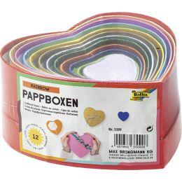 folia Geschenkboxen Herzen,12 Stück Größen/Farben sortiert