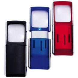 WEDO Rechtecklupe mit LED-Beleuchtung, transluzent-rot