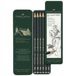 FABER-CASTELL Bleistift CASTELL 9000, 6er Metalletui