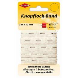KLEIBER Knopflochband, 12 mm x 3 m, weiß