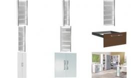 kerkmann Vorbautüren-Set für Regal, 2 Ordnerhöhen, weiß