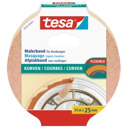 tesa Maler Hochkrepp Papierabdeckband, 25 mm x 25 m, beige