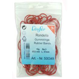 Läufer RONDELLA Gummiringe im Beutel - 10 g, 20 mm, rot