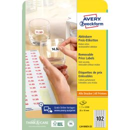 AVERY Zweckform Stick+Lift Preis-Etiketten, 26 x 16 mm, weiß