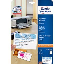 AVERY Zweckform Inkjet/Laser Karteikarte, 105 x 70 mm, weiß