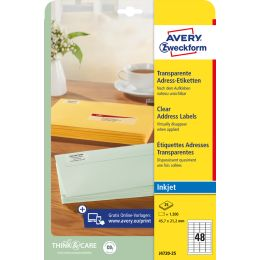 AVERY Zweckform Transparente Adress-Etiketten, 63,5 x 29,6mm