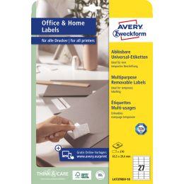 AVERY Zweckform Stick+Lift Etiketten, 45,7 x 21,2 mm, weiß
