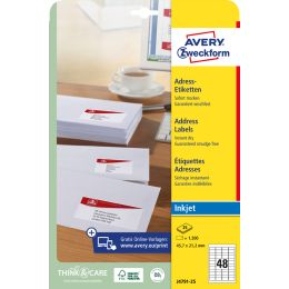 AVERY Zweckform Inkjet Adress-Etiketten, 45,7 x 21,2 mm