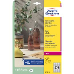 AVERY Zweckform Crystal Clear Etiketten, 45,7 x 25,4 mm