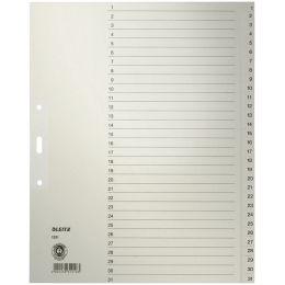 LEITZ Tauenpapier-Register, Zahlen, A4 Überbreite, 1-31,grau