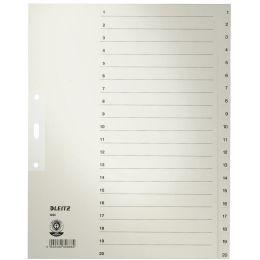 LEITZ Tauenpapier-Register, Zahlen, A4 Überbreite, 1-20,grau