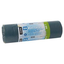STARPAK Müllsäcke LDPE, mit Zugband, 60 Liter, grün-schwarz