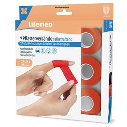 Lifemed Pflasterverband, selbsthaftend, rot, 9er