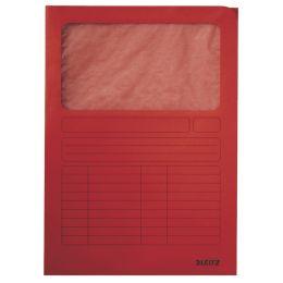 LEITZ Sichtmappe, DIN A4, Karton, mit Sichtfenster, rot